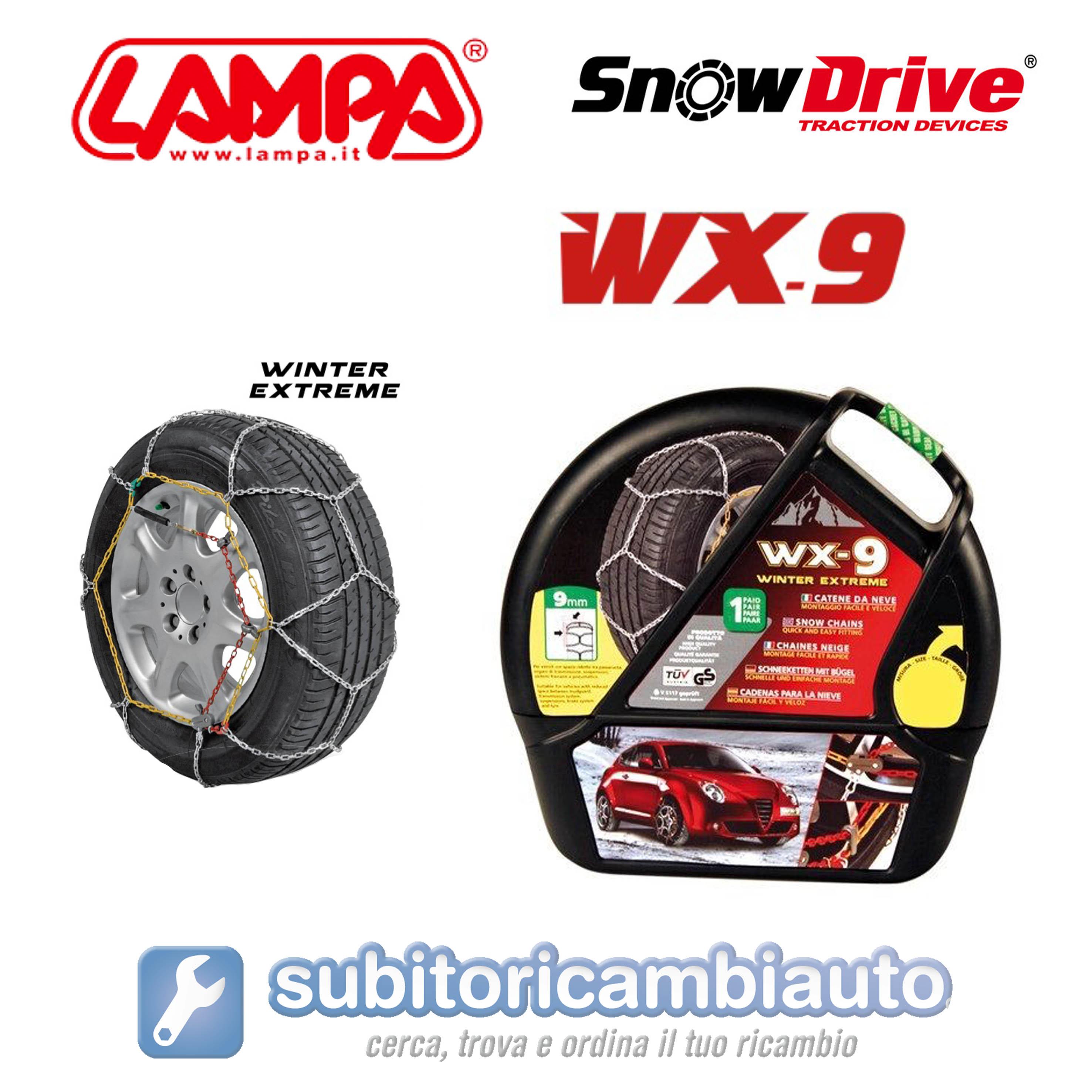 GD02021 Catene da Neve 9mm Lampa WX-9 Gruppo 13 BMW Serie 7 gomme 235//60R16